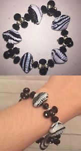 Handmade Plastic Shell Black and White One Size Stretch Beaded Fun Bracelet | eBay