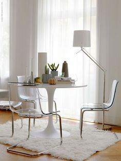 IKEA DOCKSTA TOBIAS Table And 4 Chairs White Clear 1680 BRL
