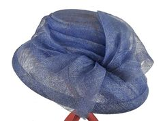 Michelle – Hat Borrower £25.00  Azure blue hat made from crinoline with a bell brim, thicker brim edge with a lovely gathered effect around the crown leading into a pleated detail at the front. Finished with a large bow. Easy to wear and will match many different outfits as it's a popular choice every season.