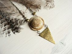 Venus - boho tribal gypsy triangle vintage goddess necklace
