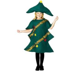 The Child Christmas Tree Costume includes a soft green Christmas tree outfit decorated with golden tinsel, yellow stars and red hearts. The Christmas tree costume also includes a coordinating green hat with yellow star detail. Christmas Tree Fancy Dress, Christmas Tree Costume, Christmas Trees For Kids, Childrens Christmas, Green Christmas, Fancy Dress Costumes Kids, Fancy Dress Outfits, Komplette Outfits, Childrens Fancy Dress