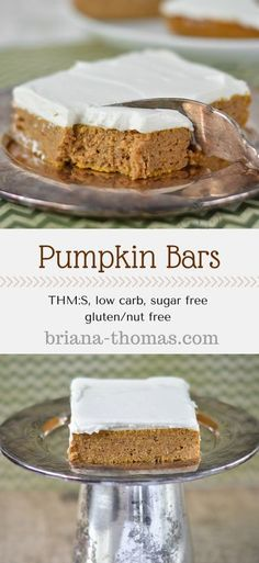 Pumpkin Bars...THM:S, low carb, sugar free, gluten/nut free