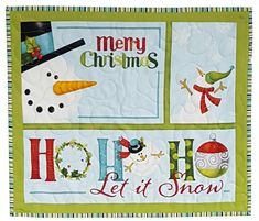 Quilted Wall Hanging Snowman Christmas Seasonal Print by Sieberdesigns on Etsy
