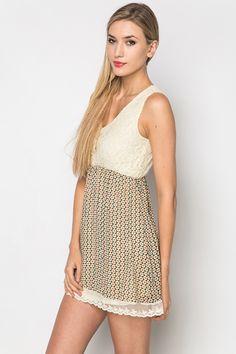Contrast Print & Lace Dress