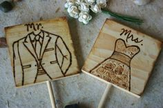 Bride and Groom Mr and Mrs Cake Toppers Rustic Woodland Hand Engraved with Wedding Dress and Tuxedo Can be Personalized
