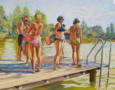 Im Sommer am Badeteich Laxenburg. #Steg #Badeteich #Schwimmen #Teich Etsy Seller, Creative, Painted Canvas, Pond, Swim, Summer Recipes