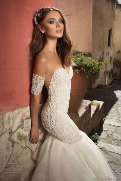 julie vino fall 2017 bridal strapless sweetheart neckline heavily embellished bodice tulle skirt elegant mermaid wedding dress low back chapel train (1203) zsdv