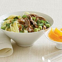 Noodles with Roast Pork and Almond Sauce   Serve this delicious Thai-inspired pork dish over noodles or, if you prefer, rice.   Cooking Light