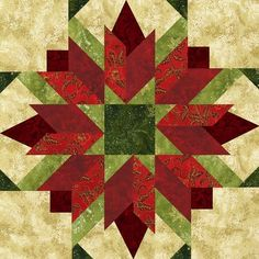 Poinsettia block quilt by an unidentified quilter