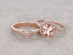 3pcs Morganite Bridal Ring Set,Engagement ring,14K&18K Rose/Yellow/White Gold Available. Every Jewelry in my store needs making to order.If you have the stone,you can ask us custom make this setting.[Item details]Engagement Ring:Solid 14K Rose Gold(Can be made in white/yellow/rose gold)Band width approx 1.4mm8mm Round Cut 1.8ctw VS Morganite0.32ct Round Cut SI/H Natural Conflict Free Diamonds.Prong,Pave SetMatching Band:Solid 14K Rose Gold,Band width approx 1....