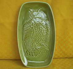 1970s Poole Pottery Green Glazed Ceramic Pin Dish w Owl on Branch of Tree Design