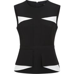 """BCBGMAXAZRIA Aspyn Contrast Folded Peplum Top"" found on Polyvore"