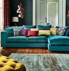 teal sofa the striking harrington large chaise sofa is a fantastic addition to a QNRVTJP . Living Room Turquoise, Living Room Colors, Living Room Designs, Turquoise Couch, Teal Couch, Teal Velvet Sofa, Bedroom Colors, Blue Velvet, Turquoise Curtains