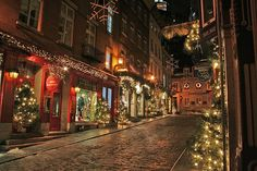 Christmas lights in Petit Champlain, Québec, Canada; photography by Christine Pilote