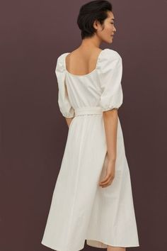Calf-length dress in woven, crêped cotton fabric. Square neckline, buttons full length of front, and short puff sleeves with elastic over shoulders and at c Cream Midi Dress, Cream Color Dress, Calf Length Dress, Crepe Dress, Fashion Company, Modest Fashion, Clothing Patterns, A Line Skirts, Cotton Dresses