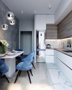 Kitchen Design: 123 photos (real) in 4 modern styles - Rosalinda's Amazing Ideas Kitchen Room Design, Rustic Kitchen Design, Living Room Kitchen, Home Decor Kitchen, Kitchen Interior, Interior Design Living Room, Home Kitchens, Apartment Interior, Apartment Design