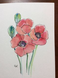 Pen And Watercolor, Watercolor Flowers, Watercolor Paintings For Beginners, Flower Art, Painting & Drawing, Impression, Drawings, Card Stock, Hand Painted