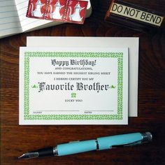 letterpress favorite brother certificate by afavoritedesign