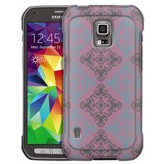 Samsung Galaxy S5 Active Victorian Vintage Blue and Grey on Lavander Slim Case
