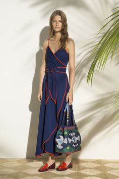 Navy Long Wrap Style Dress with Red Spaghetti Straps and Trim - Tory Burch, Look #10