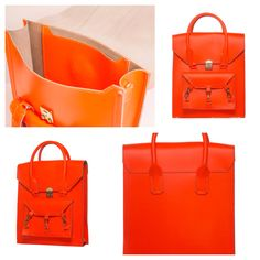 Neon Orange medium size tote bag practical for daily use in side the Pelham bag is spacious with a medium size pocket with the Tomas Brilliance logo embossed at the centre of the pocket  #bag #handbag #tote #pink #neonorange