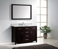 Virtu USA MS-2048-WMSQ-ES Caroline 48-Inch Bathroom Vanity with Single Square Sink in Espresso with Italian Carrera Marble Countertop Virtu USA http://www.amazon.com/dp/B00BJ1D8JE/ref=cm_sw_r_pi_dp_6wNTwb00FWEMZ