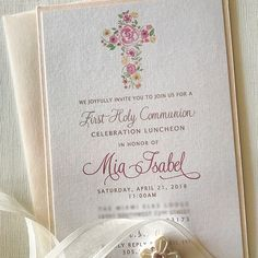 Our Layered Pearl and Blush First Communion Invitation & Coordinating Remembrance. May you always know the peace of Jesus, the light of… First Communion Invitations, First Holy Communion, Christening, Holi, Twins, Celebration, Blush, Party Ideas, Pearls