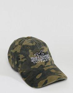 99a0b187b70c1 Hollister logo camo print baseball cap in green