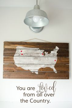 You are Loved from All Over the Country || DIY Wood Pallet Sign that makes a fantastic Mother's Day gift idea! MichaelsMakers Craftaholics Anonymous