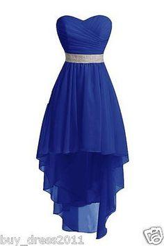 New Courte mousseline demoiselle d'honneur Salut Low Cocktail soirée robe de bal