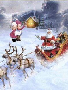 Santa in sleigh, with children singing Christmas Carols