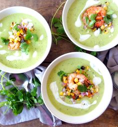 Chilled Avocado Soup with Spicy Grilled Shrimp & Charred Jalapeno-Corn Salsa | a common connoisseur