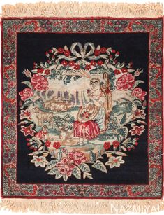 Small Square Size Antique Pictorial Persian Kerman Rug 49614 Nazmiyal