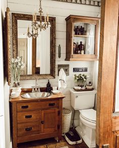 "This half bath downstaires used to be half the size it is now. When the plumber was here working, he said ""I need to know what vanity you… 1930s Bathroom, Timeless Bathroom, Modern Bathroom, Small Bathroom, Bathroom Ideas, Antique Bathroom Decor, Vintage Bathroom Cabinet, Bathroom Renos, Bath Ideas"