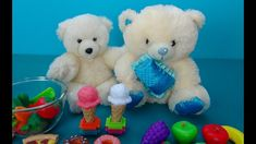 Kind cartoon for kids. Two cute bears meet each other. Much toy food for...
