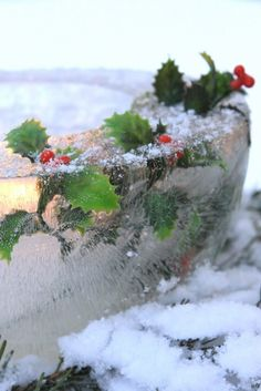 Holly ice bowl. Great outdoor candle holder.
