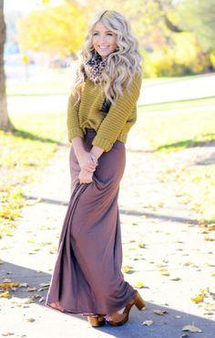 purple maxi skirt and mustard sweater