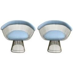 Pair of 1974 Warren Platner for Knoll Blue Armchairs | From a unique collection of antique and modern armchairs at https://www.1stdibs.com/furniture/seating/armchairs/