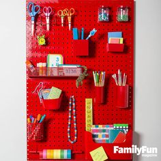 Back-to-School Pegboard: For a simple, inspiring homework center, pick up a pegboard (available at hardware stores), and, if needed, have it cut to fit on a door or above a desk. Stock the board with cool school and craft supplies, and your student will be set to ace everything from division to diorama building.