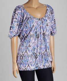 Another great find on #zulily! Pink & Lavender Abstract Cutout Blouson Top - Plus #zulilyfinds