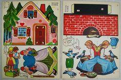 Zwei-Bastelbogen-Ausschneidebogen-aus-Papier-50er-Jahre-Maerchen-Motive