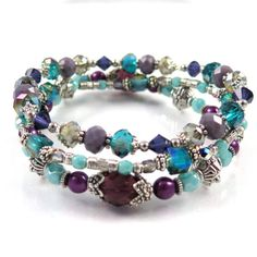 """Amethyst and Teal Stackable Stretch Bracelets - Set of Three 8"""" Stretch Bracelets Teal and Purple"""