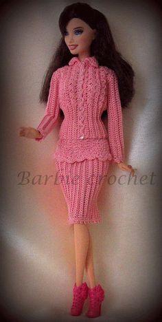 Abito giacca e gonna all'uncinetto per barbie di Barbiecrochet, €12.00