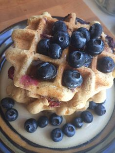 As soon as the house was empty, I whipped up a batch of these #vegan #glutenfree #sugarfree Blueberry Buckwheat Waffles and ate the whole thing. No regrets!