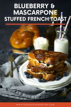 A dollop of tangy mascarpone and a scoop of fresh blueberries is stuffed inside french toast elevating it from good to sublime. Stuffed french toast will become your new brunch staple! #whatshouldimakefor #stuffedfrenchtoast #blueberryfrenchtoast #frenchtoast #brunchrecipes #challah
