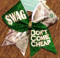 Bows by April - $WAG Dont Come Cheer Glitter and Money Mystique Cheer Bow, $18.00 (http://www.bowsbyapril.com/wag-dont-come-cheer-glitter-and-money-mystique-cheer-bow/)