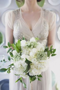 green and white bouquet // photo by Christa Elyce // flowers by Tamara Menges #weddingflowers