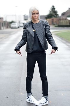 All black, mango leather jacket, collarless jacket, stan smith sneakers, customized, zalando, brian lichtenberg, sweater, meow meow, white hair, bob hairstyle