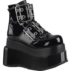 8c1451a92d16 Inked Boutique - Demonia BEAR-104 Tiered Platform Ankle Boot Black Buckles  Goth Nu Goth