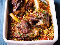 We love a lamb shank and they love flageolets – small pale green dried beans that have a fine flavour. Put them together with herbs, spices, veg and stock and you have a supper to relish – everyone has their own mini-joint. This does need a long cooking time, but it's not much trouble to prepare and it's well worth it. The shanks are done when the meat has shrunk well back from the bone.